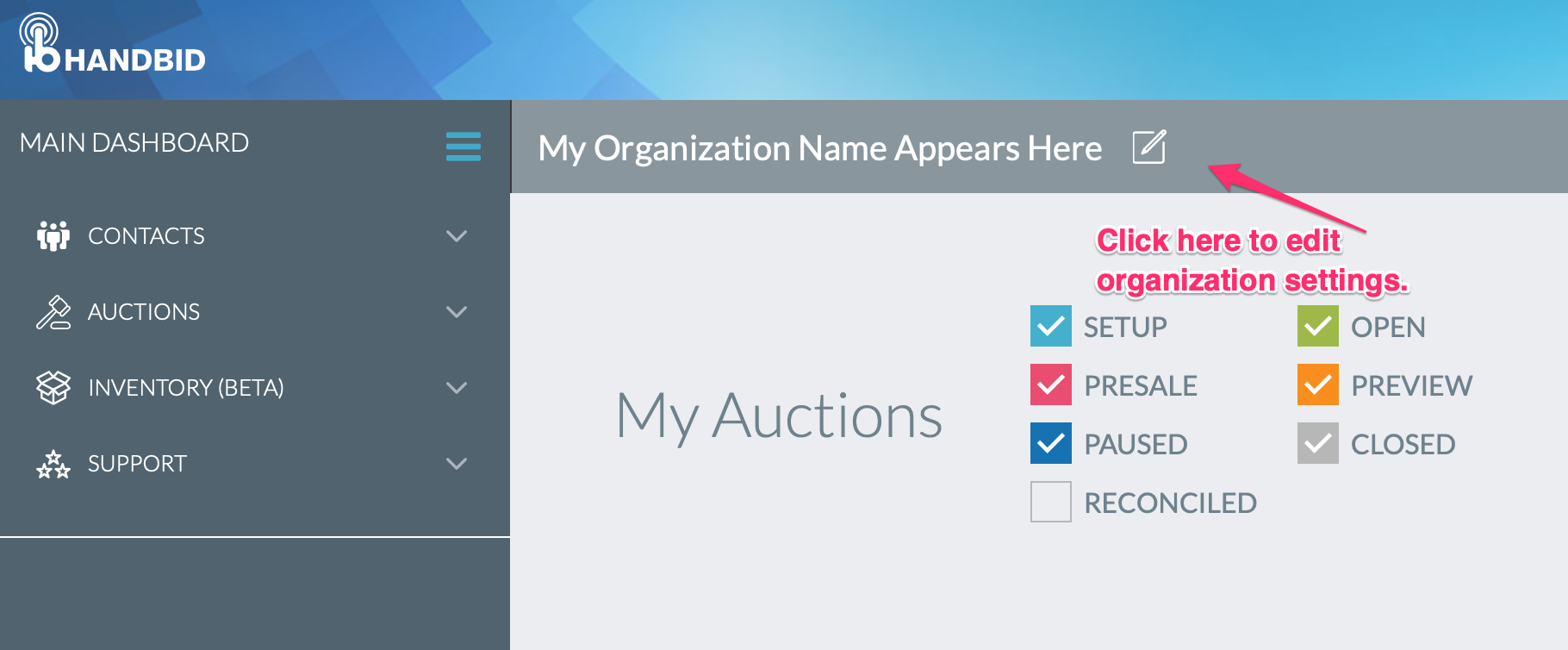 Auction Manager Quick Start Steps